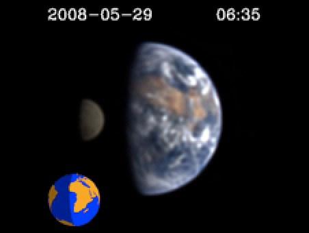 """Com a ajuda do """"high resolution imager"""" da sonda """"Deep Impact"""", Cowan e seu time observaram como as cores de Terra modificam-se do azul (oceanos) para o vermelho (continentes) com a sua rotação sobre o eixo. Crédito: Donald J. Lindler, Sigma Space Corporation/GSFC; EPOCh/DIXI Science Teams"""
