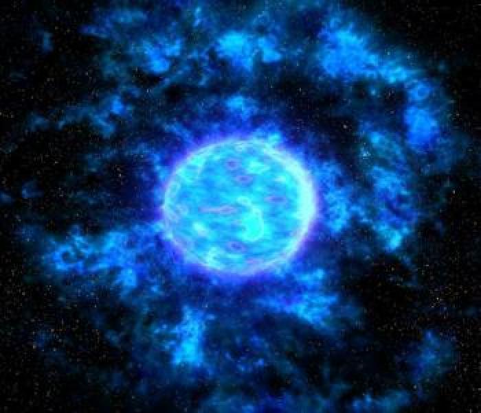 Estrelas Wolf-Rayet (frequentemente referenciadas como estrelas WR) são estrelas evoluídas, muito massivas (mais de 20 massas solares), e que perdem suas massas rapidamente por meio de ventos solares muito fortes, com velocidades superiores a 2.000 km/s. Enquanto o Sol perde 10^-14 de sua massa durante um ano, uma estrela Wolf-Rayet perde 10^-5 massas solares por ano.   Estrelas Wolf-Rayet são muito quentes, suas temperaturas estão na faixa de 25.000 K até 50.000 K.