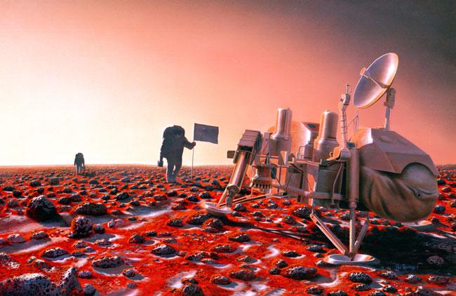 Concepção artística da exploração humana em Marte onde poderão revisitar o local de pouso da Viking 2 visando verificar quais foram os efeitos que o ambiente marciano, superfície e atmosfera tiveram nesta sonda. Créditos: NASA/Pat Rawlings/NASA's Planetary Projects Office, Johnson Space Center (JSC).