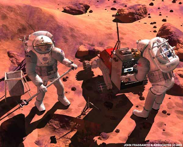 Novos residentes em Marte montam um posto para experimentos científicos. Crédito: John Frassanito e associados