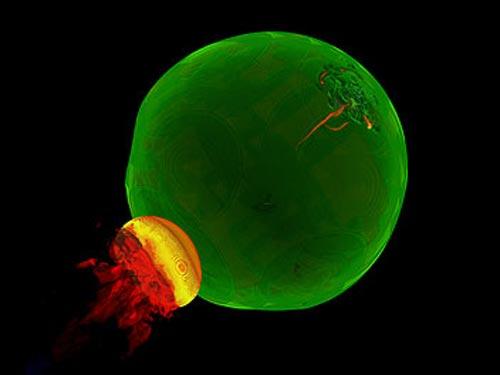 Uma imagem de uma supernova tipo Ia instantes apos o momento da explosão. A energia liberada aqui é equivalente a 1027 bombas de hidrogênio ou 10 megatons de TNT. (Imagem: DOE NNSA ASC / Alliance Flash Center)