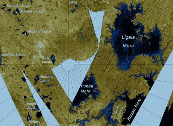 Mapa mostra os mares de Titã: a primeira opção de pouso, Ligeia Mare, e a segunda, Kraken* Mare.