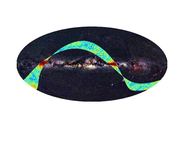Esta faixa representa a radiação de fundo de microondas observada pela sonda PLANCK (a curva multicolorida) que está superposta em uma imagem na luz visível do céu, dominado pelo disco da Via Láctea (Imagem: ESA/LFI/HFI Consortia/Axel Mellinger). Esta é a primeira amostra que a PLANCK nos oferece sobre o brilho do Big Bang com detalhes inéditos. O mapa completo do céu será completado em cerca de 6 meses.