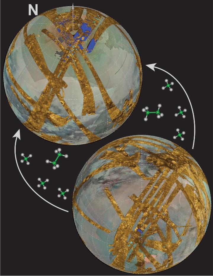 Os hemisférios norte e sul de Titã, que mostram a grande disparidade entre a abundância de lagos no norte e a sua escassez no sul. A hipótese apresentada favorece o fluxo longo-termo de hidrocarbonetos voláteis, predominantemente metano, de hemisfério para hemisfério. Recentemente, a direcção do transporte tem sido de sul para norte, mas o efeito foi o inverso há dezenas de milhares de anos atrás. Crédito: NASA/JPL/Caltech/UA/SSI