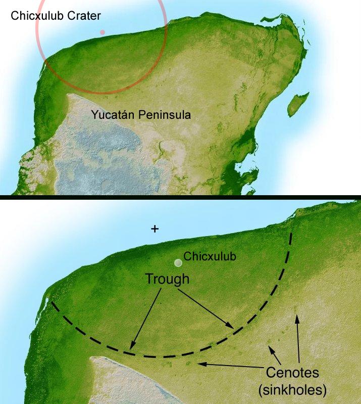 Mapa mostra a cratera de Chicxulub na península de Yucatã, Golfo do México