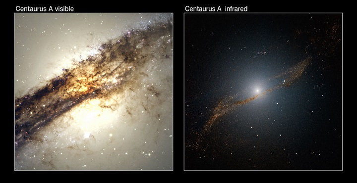 Comparação de duas imagens de Centaurus A. À esquerda vemos a imagem capturada pelo dispositivo WFI (Wide-Field Imager) do telescópio MPG/ESO de 2,2-metros. À direita temos a visão infravermelha do instrumento SOFI do NTT (New Technology Telescope), também em La Silla. A imagem capturada pelo SOFI foi processada para 'olhar através' das camadas de poeira cósmica, fornecendo uma visão clara do centro galáctico e revelando um novo e até então desconhecido anel de estrelas e aglomerados estelares. Crédito: ESO/Y. Beletsky