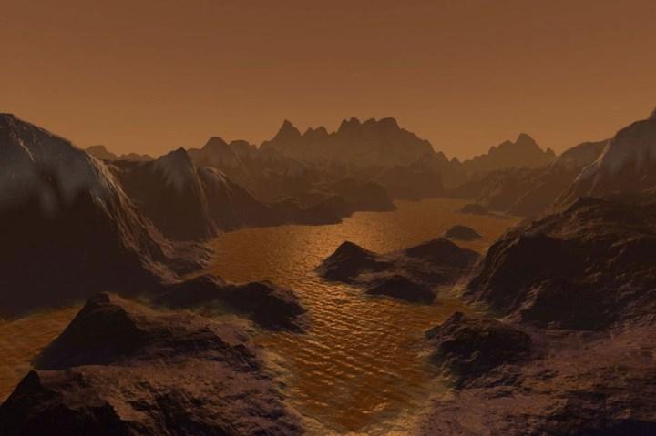 Mares de hidrocarbonetos em Titã, lua de Saturno (Crédito: Steven Hobbs, Brisbane, Austrália)