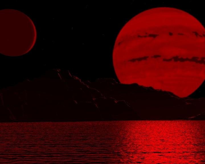 Paisagem de um exoplaneta orbitando uma anã marron (anã castanha, em Portugal). As anãs marrons emitem sua radiação no espectro próximo do infravermelho, praticamente fora do espectro visível. Crédito: Vistapro Landscape Imagery Rendered by Jeff Bryant