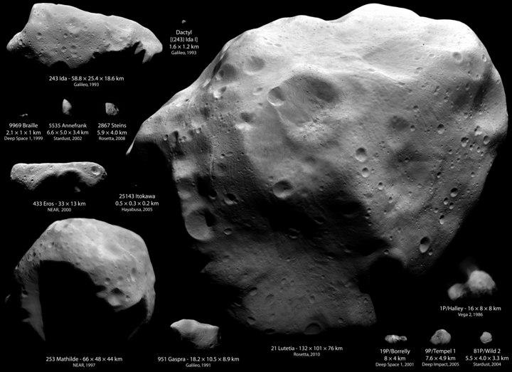 Asteróides e cometas visitados por sondas espaciais. Créditos: ESA, NASA, JAXA, RAS, JHUAPL, UMD, OSIRIS; Montagem: Emily Lakdawalla (Planetary Society) & Ted Stryk