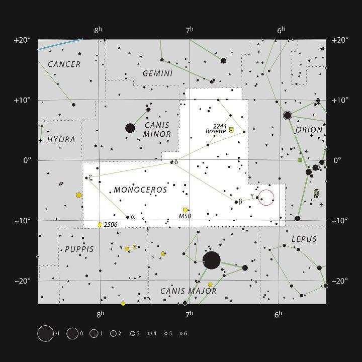 Mapa celeste mostra a constelação do Unicórnio. No círculo vermelho está a região de formação estelar Monoceros R2, estudada pelo VISTA. Crédito: ESO, IAU and Sky & Telescope