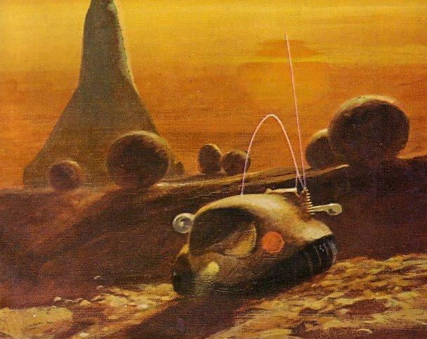 Ilustração feita por John Schoenherr do exomundo Mesklin de Hal Clement, capa da edição de 1960 do romance de ficção cientifica Mission of Gravity. Poderia alguém capturar a essência de uma história melhor do que o notável Schoenherr?