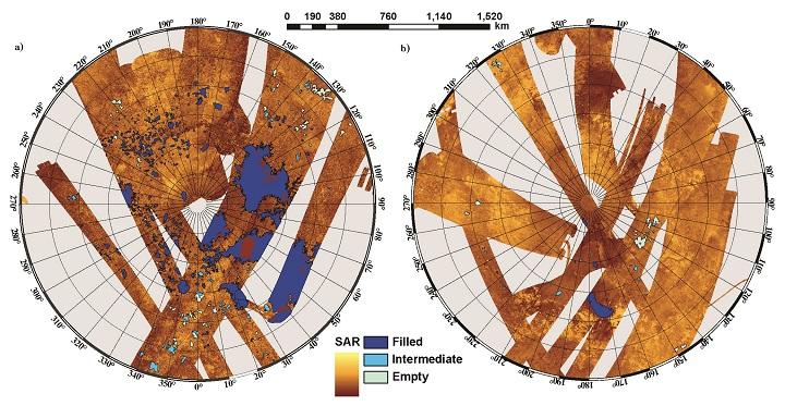 Diagrama dos hemisférios norte e sul de Titã. As regiões com cores azuis assinalam os lagos. Crédito: Oded Aharonson, NASA
