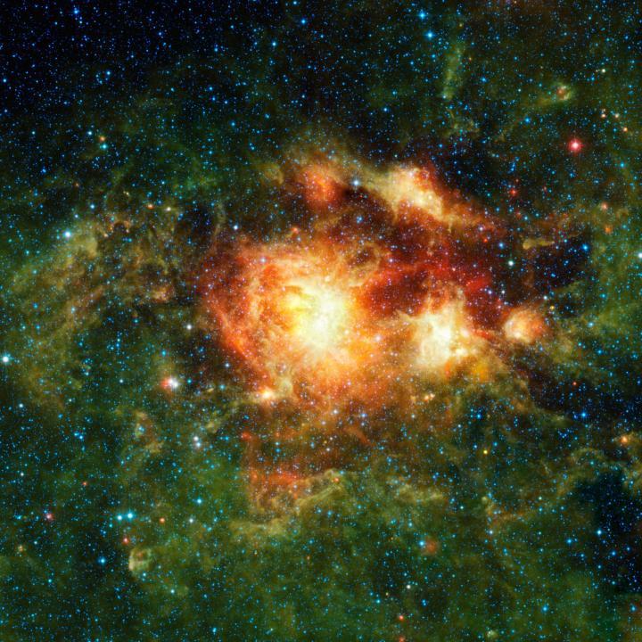 O berçário estelar NGC 3603 é uma nebulosa cheia de gás, poeira e estrelas recém-nascidas. Clique na imagem para ver a versão em alta resolução. Crédito: NASA/JPL-Caltech/UCLA