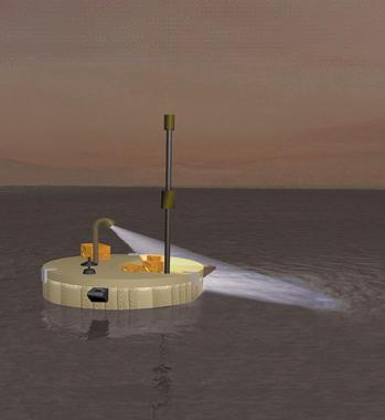 """""""Titan Mare Explorer"""" - Impressão artística da sonda destinada a pousar em um lago de Titã"""