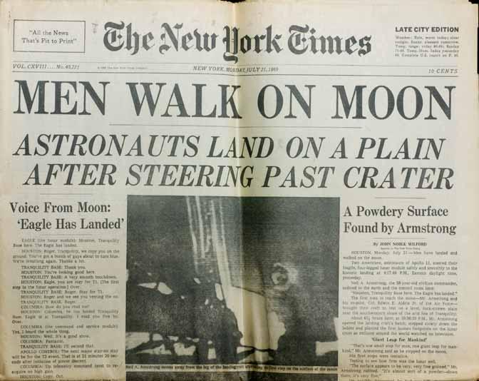 Capa do New York Times em 21 de julho de 1969