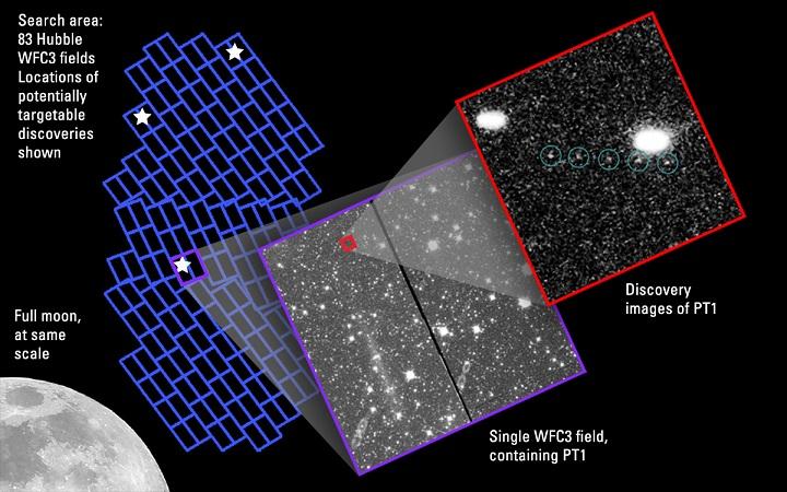 """Um KBO potencialmente atingível pela sonda robótica New Horizons aparece visível após múltiplas exposições via Hubble. O observatório espacial rastreou o KBO chamado de """"PT1"""" se movendo a frente de um fundo entulhado de estrelas da constelação de Sagitário, na direção do bojo central da nossa galáxia. O objeto tem 30 a 45 km de diâmetro, uma relíquia criogênica de como era nosso Sistema Solar há 4,6 bilhões de anos, quando o Sol nasceu. A imagem mostra o KBO a mais de 40 UA do Sol. Créditos: NASA, ESA SwRI, JHU/APL e o time de busca por KBOs da New Horizons."""