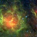 M20: a nebulosa Trífida em infravermelho examinada pelo SPITZER
