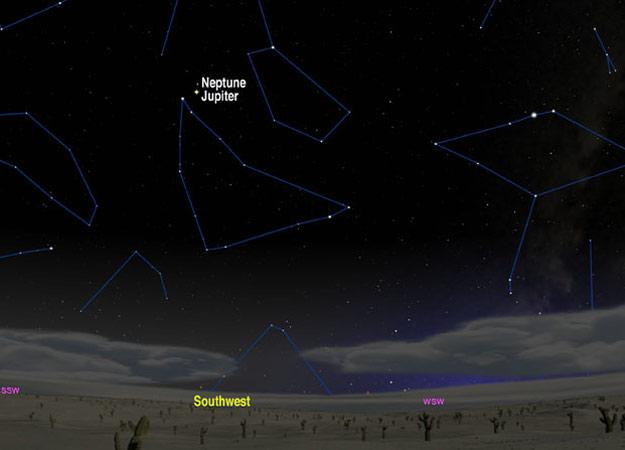 Júpiter e Netuno em rara conjunção