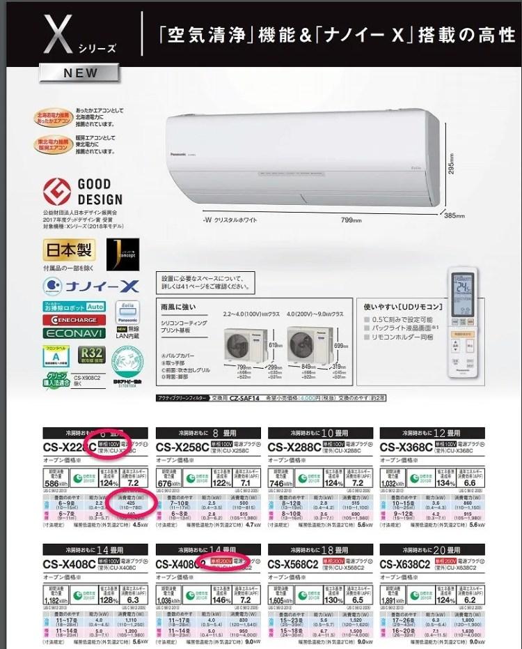 エアコンは100Vと200Vがある