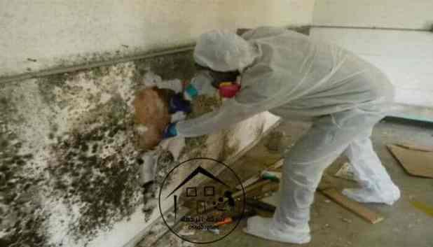 عامل يصلح حائط متفتت بسبب تسربات المجاري