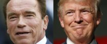 "(FILES) This file combination of pictures created on January 6, 2017 shows recent pictures of US actor and former governor of California Arnold Schwarzenegger (L) and US President Elect Donald Trump. Donald Trump attended Washington's annual prayer breakfast on February 2, 2017 and asked assembled faith leaders to pray for Arnold Schwarzenegger's television ratings. On his maiden visit to the marquee political and religious event, Trump took a joking swipe at his successor as host of ""The Apprentice."" ""I want to just pray for Arnold, if we can for those ratings, okay?"" Trump said.Schwarzenegger took over as host of the show on NBC television after Trump ditched the boardroom for an improbable foray into politics. / AFP PHOTO / THOMAS SAMSON AND JEFF KOWALSKY"