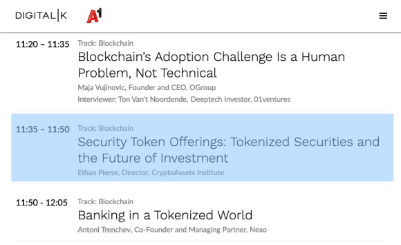 Security Token Offerings: Tokenized Securities and the Future of Investment Keynote at DigitalK Sofia