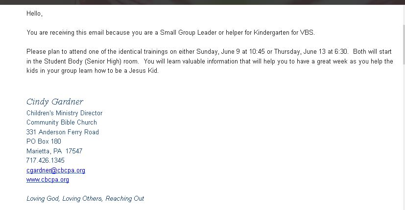 Email from Community Bible Church