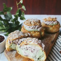 Red Bean Matcha Cream Puffs