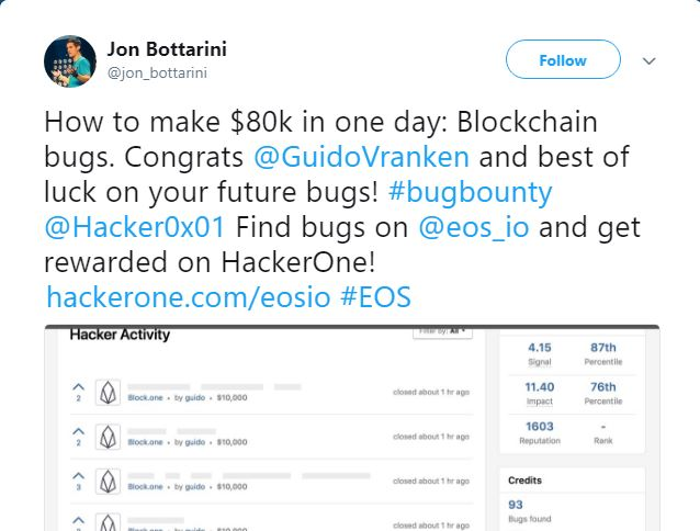 EOS Bug Bounty Update: Researcher Earns $120K in a Week Highlighting Bugs on The Platform 1