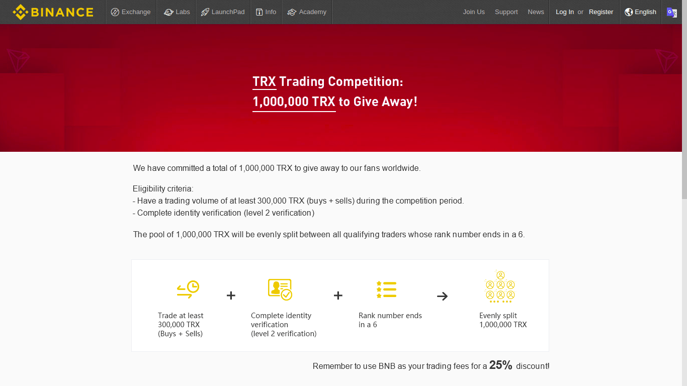Win 1.000.000 TRX. Binance Announces New TRX Competition 1