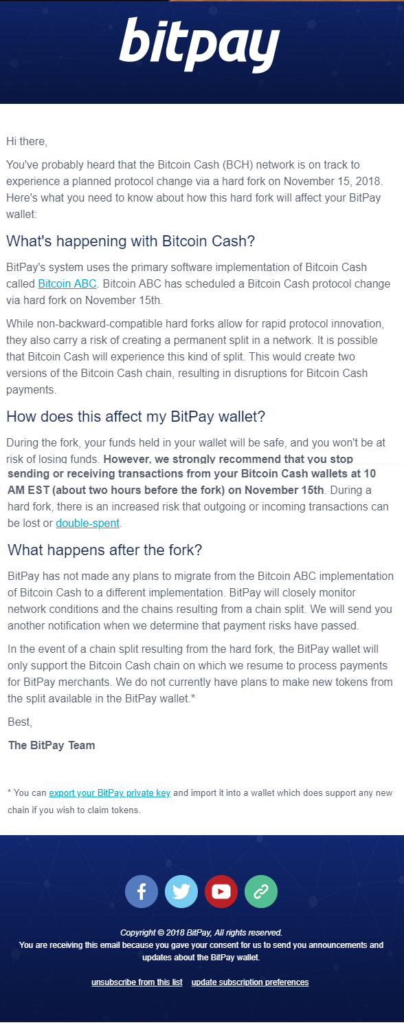 Bitpay Will Not support Bitcoin SV After The BCH fork 1