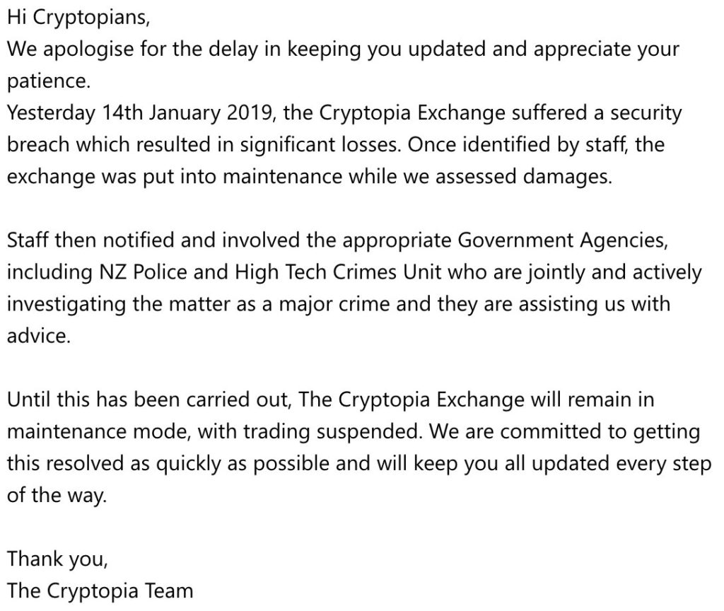 News Flash: Cryptopia Exchange Hacked, Investigations by New Zealand Authorities Ongoing 1