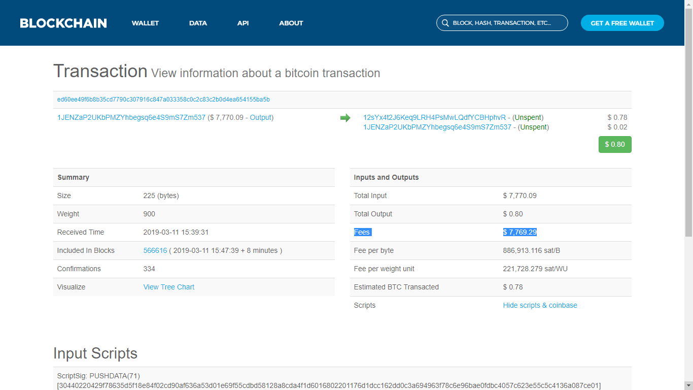 BTC Block explorer showing the inusual fee of 7.7k USD for a 0.6 USD transaction