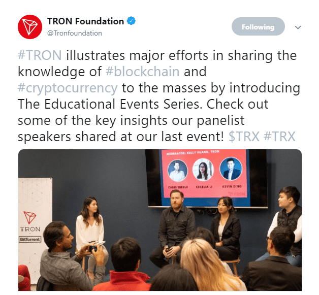 Tron Launches Educational Events Series to Accelerate Blockchain Adoption 1