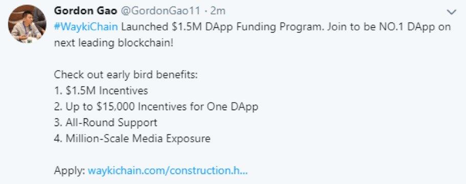 WaykiChain (WICC) News: $1.5 Million DApp Funding Program has been Launched for Global Developers 1