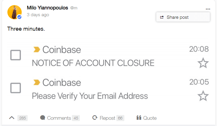Coinbase Bans Account of Popular Right-Wing Pundit Milo Yiannopoulos 1