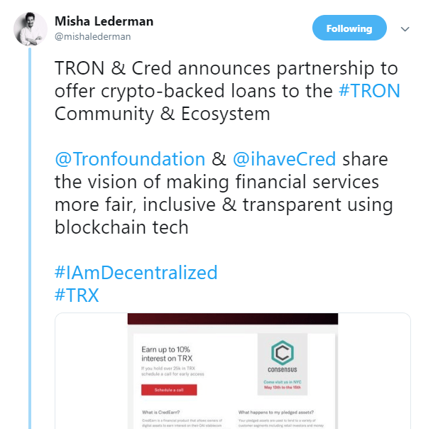 Tron Offers Help to Binance, Partners with Cred to Provide Crypto Loans to TRX Holders 1