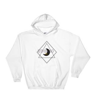 etheric life black quarter moon hooded sweatshirt white