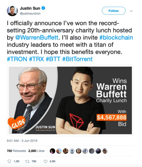 Tron Justin Sun Warren Buffett