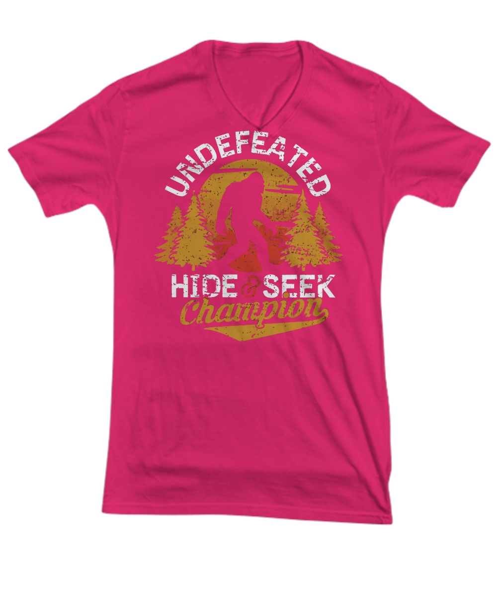 cc3cd390b Bigfoot undefeated hide and seek sasquatch yeti V-Neck Tee, unisex ...