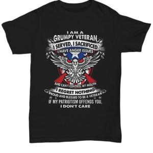 I am a grumpy veteran i served i sacrified i regret nothing shirt