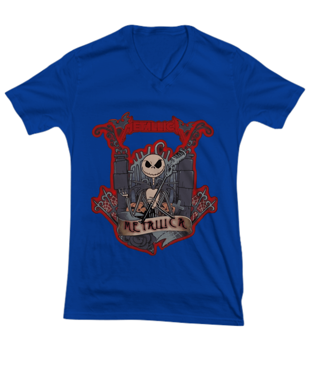 Metallica skeleton band halloween V-neck