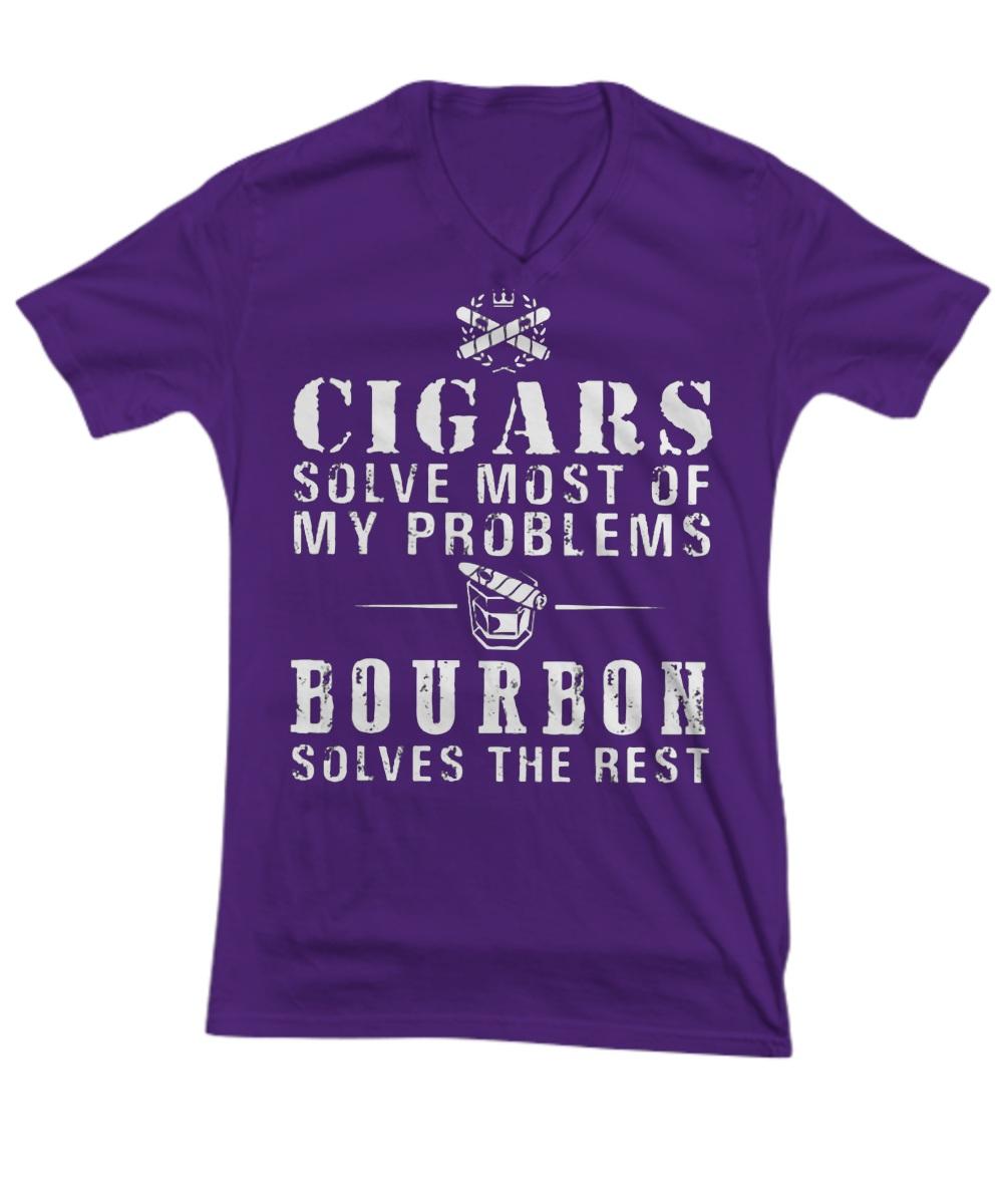 Cigars solve most of my problems Bourbon solves the rest V-Neck