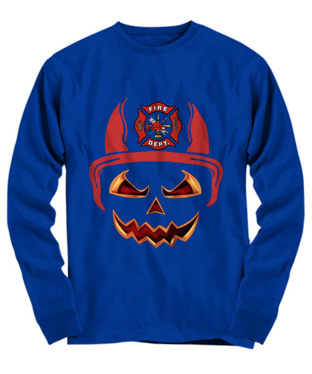 Fire department red horn pumpkin halloween Long Sleeve