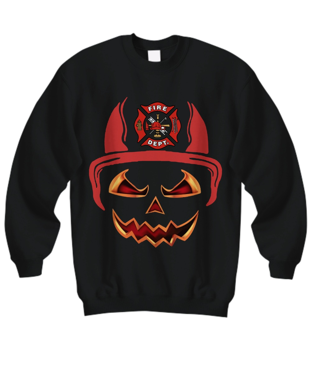 Fire department red horn pumpkin halloween Sweatshirt