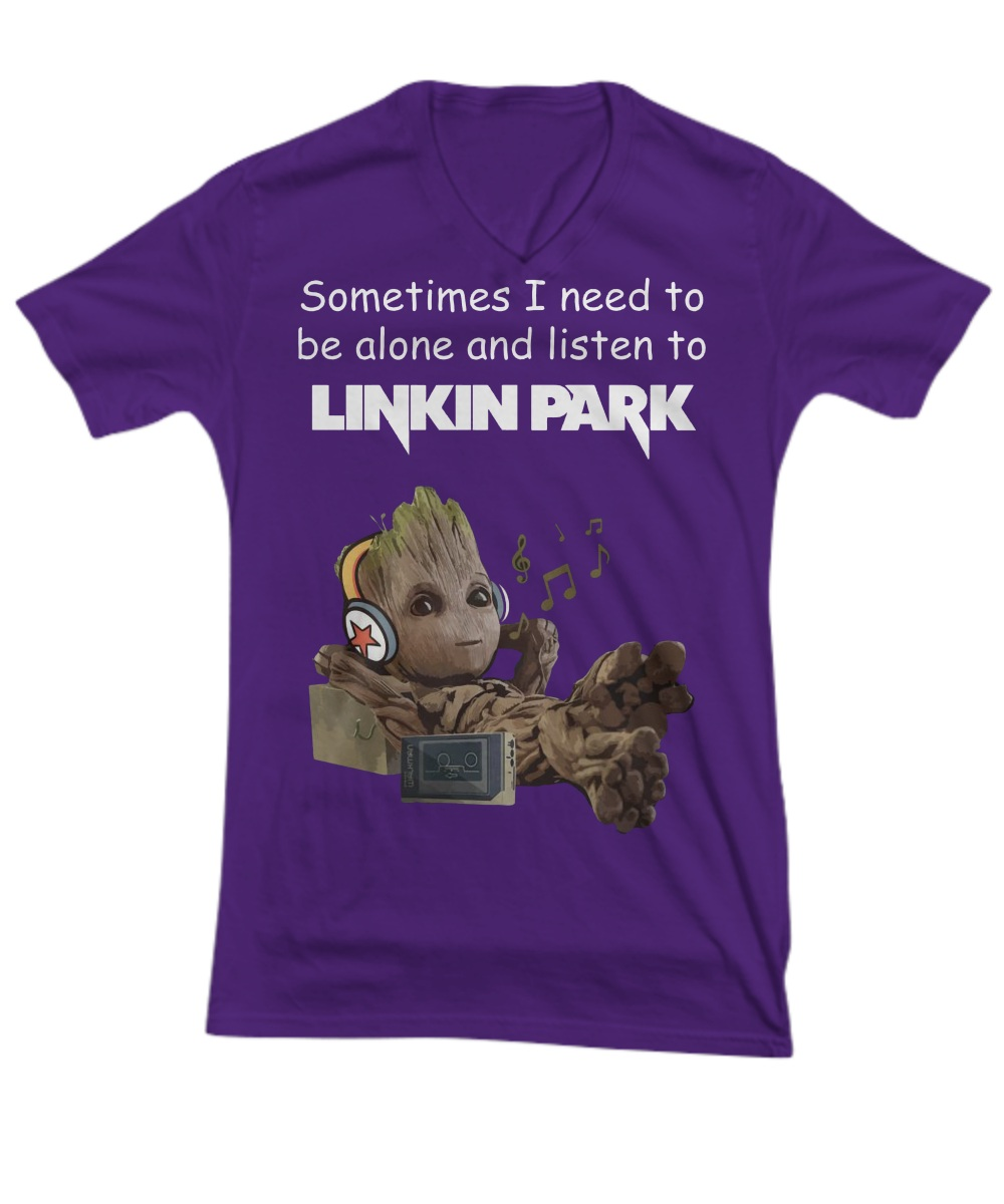 Groot sometimes i need to be alone and listen to linkin park V-Neck