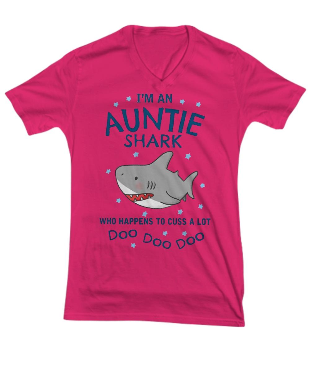 I'm an auntie shark who happens to cuss a lot doo doo doo V-Neck