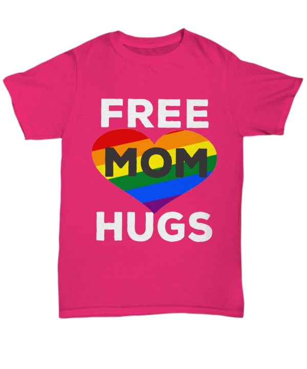 Rainbow color heart free mom hugs Shirt