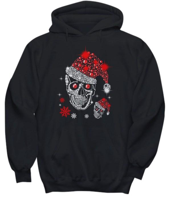 Christmas Rhinestone Smiling Skull hoodie