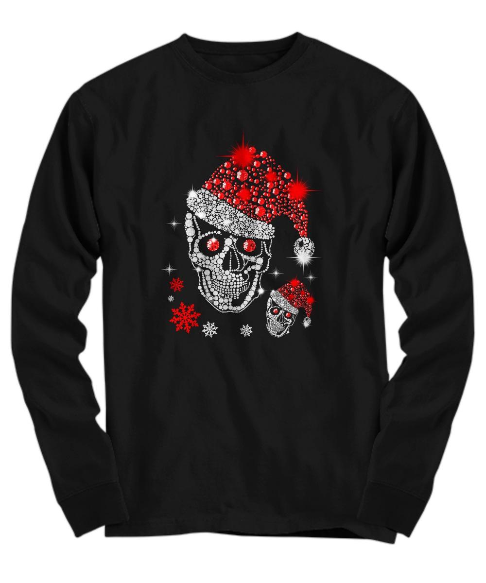 Christmas Rhinestone Smiling Skull long sleeve